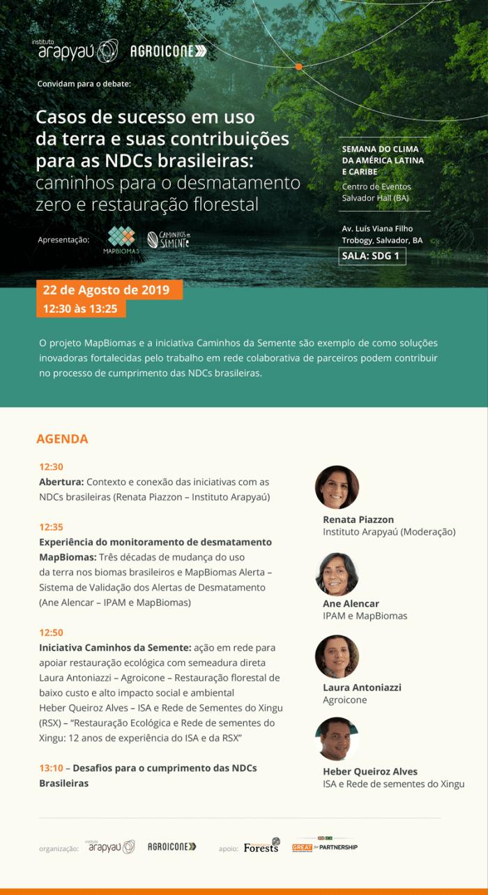 Poster sobre o debate: Casos de sucesso em uso da terra e suas contribuiçoes para as NDCs brasileiras. Realizao na Semana do clima da América Latina e Caribe