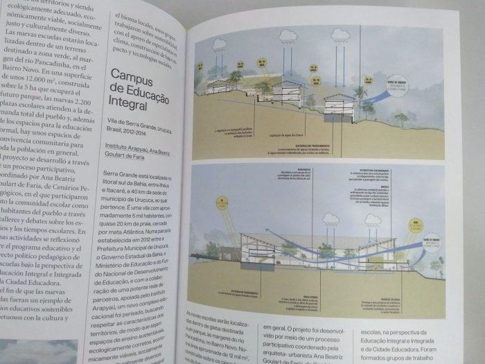 Página interna da publicação Urbanismo Ecológico na América Latina, que deu destaque para o projeto arquitetônico do Centro de Educação Integral em Serra Grande (BA)